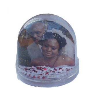 Personalised Photo Globe with Snow and Hearts